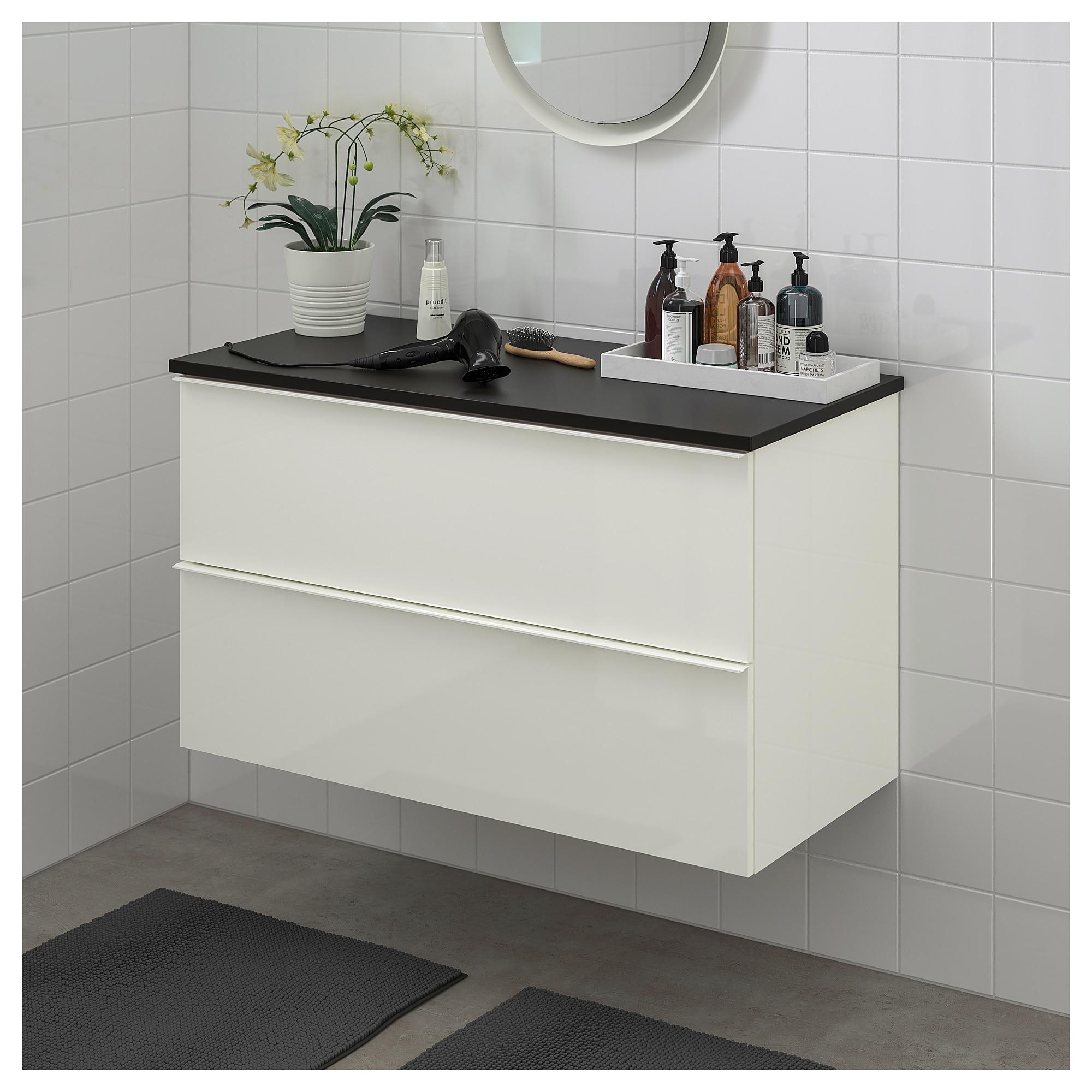 Godmorgon Tolken Waschbeckenschrank 2 Schubl Hochglanz Weiss Waschbeckenschrank Ikea Und Ikea Godmorgon