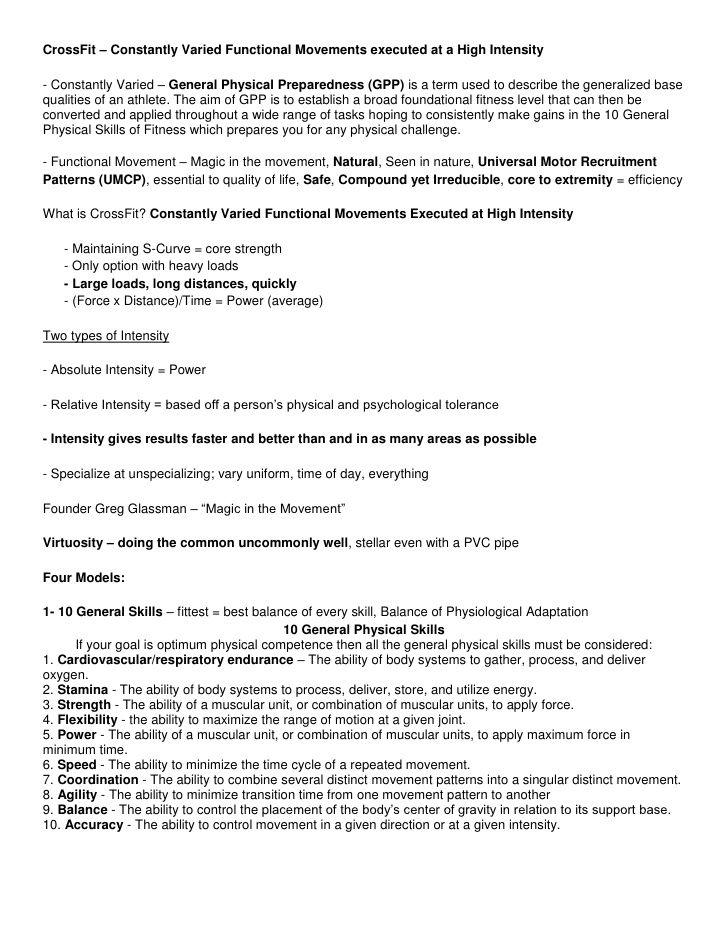 CrossFit Level 1 Study Sheet by junglecatcrossfit via slideshare ...