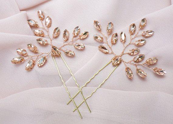Set Of 2 Bridal Hair Pins Rhinestone Hair Par