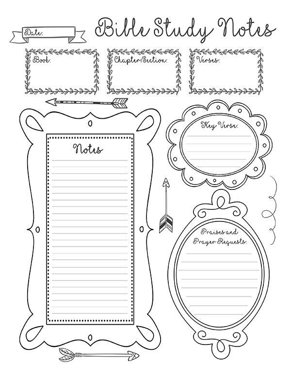 bible study notes sheet small