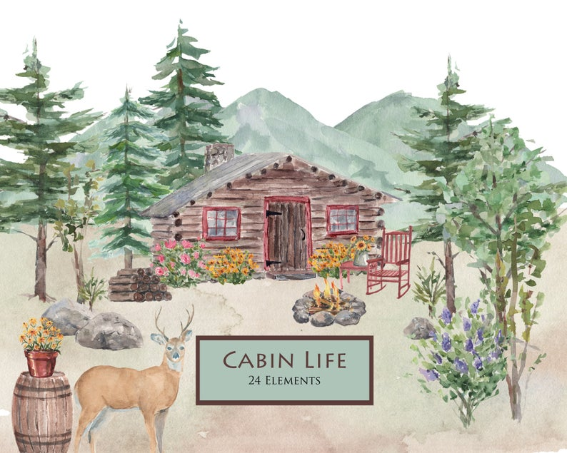 Cabin And Mountains Watercolor Clip Art Cabin Life Etsy Watercolor Clipart Log Cabin Mountains Deer Pine Trees W Watercolor Mountains Etsy Watercolor Art