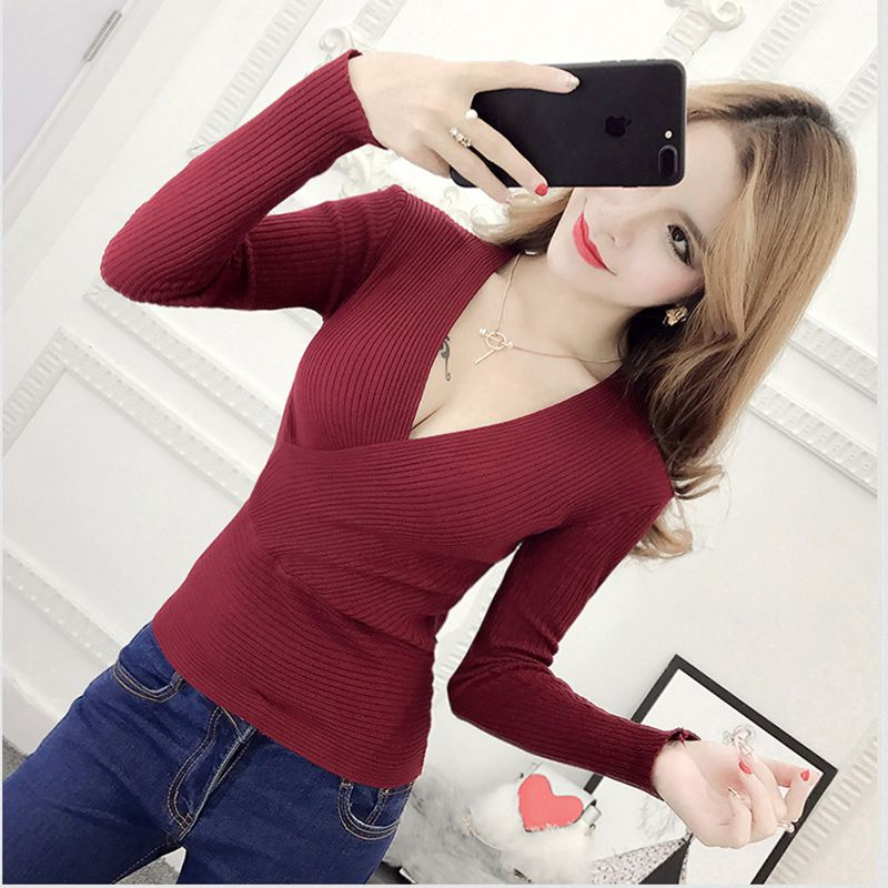 Blusas De Inverno Feminina 2017 Winter Slim Long Sleeve Knitted Sweater Sexy V-Neck Women Sweaters Fashion Pullover Pull Femme