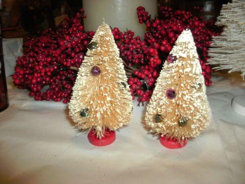 2 Vintage Cream Bottle Brush Christmas Trees Mercury Ornaments 4 3 4