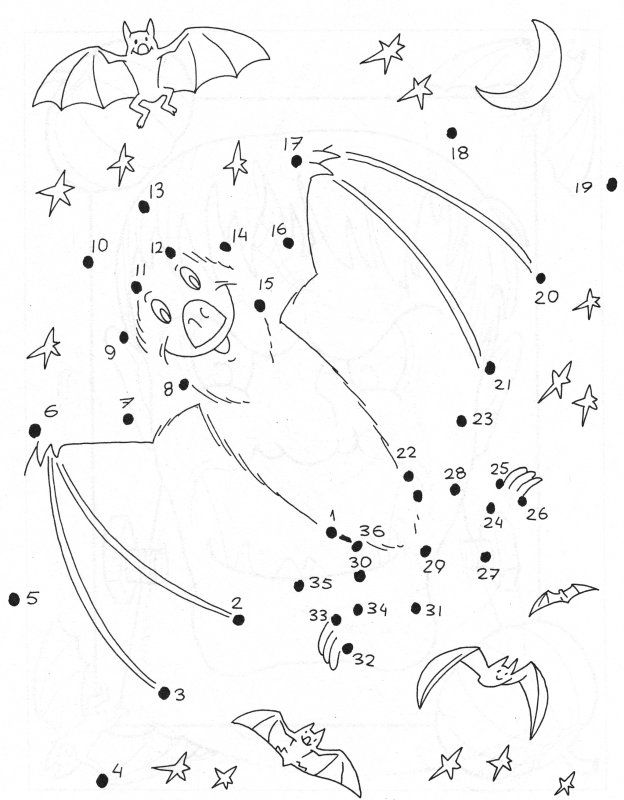 Bat dot to dot | Crafts for Kids! and Adults ;) | Pinterest | Dots ...