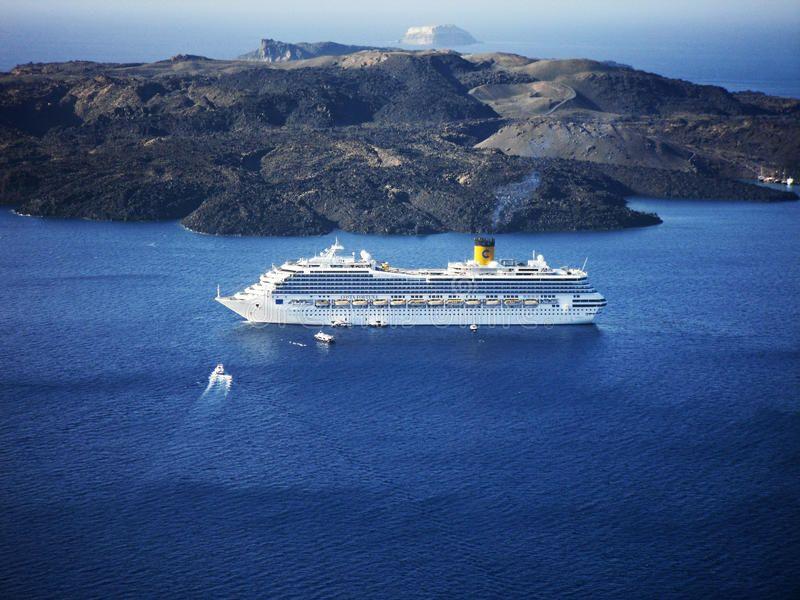 Cruise ship Costa Fortuna in Santorini. Santorini, Greece -November 11, 2010: Th #Sponsored , #PAID, #Paid, #Costa, #Cruise, #November, #Fortuna