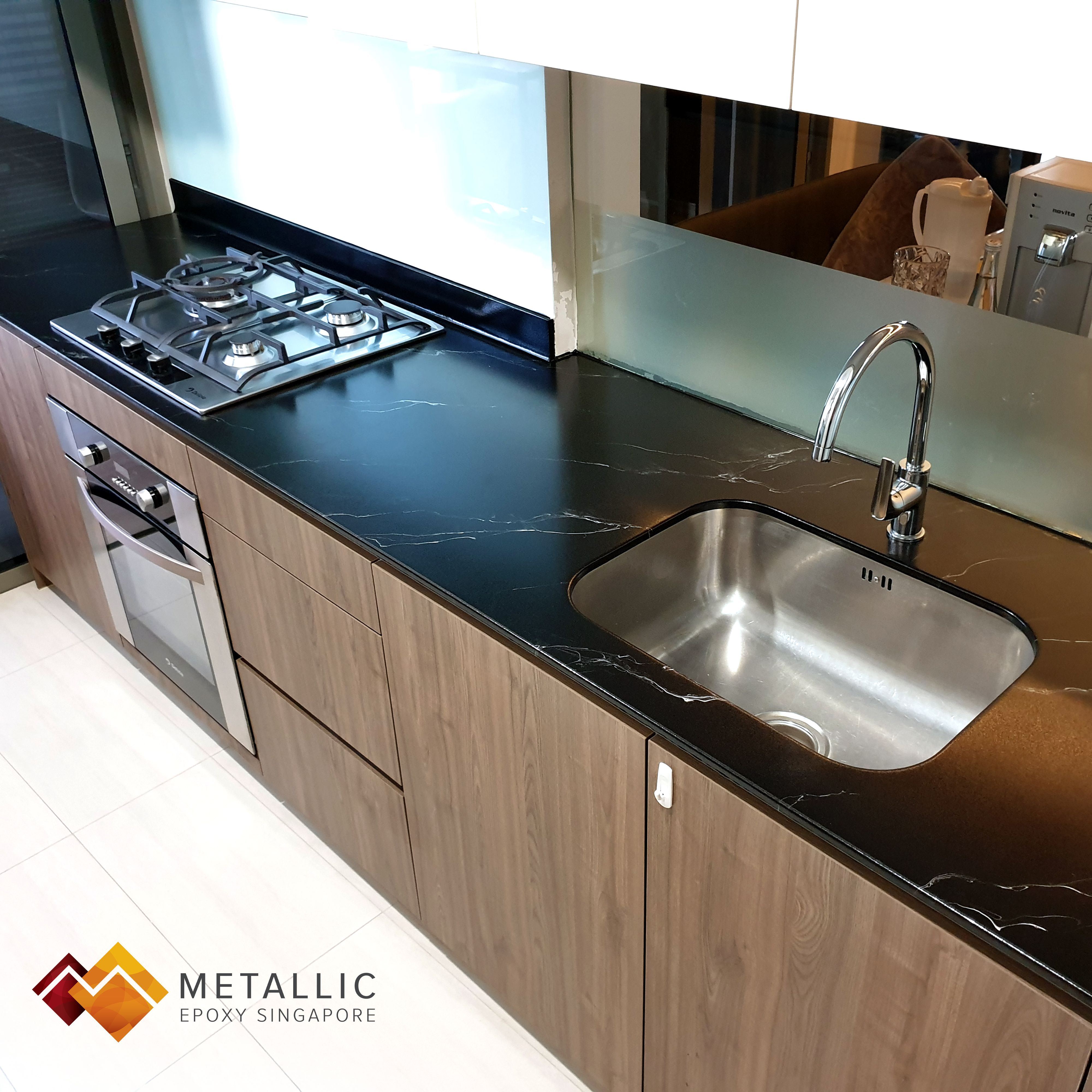 This Beautiful Black Countertop With Silver Streaks Bring Lovely