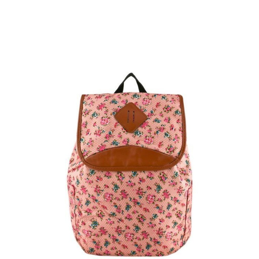 4b693a2a2a Pink backpack with pink floral print and light brown faux leather details.  Material  PU Item Fit   Dimensions  12 (W) x 6 (D) x 15 (H) inches   34  inch ...
