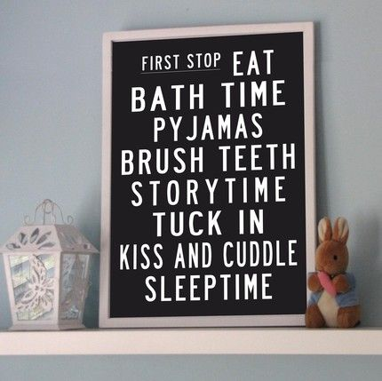 Bedtime bus roll poster: create a schedule for your child