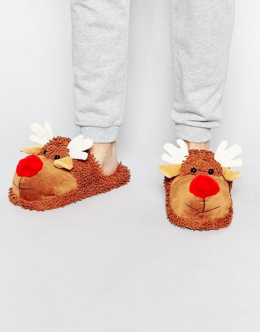 ASOS | ASOS Slip On Reindeer Christmas Slippers at ASOS | Shoes ...
