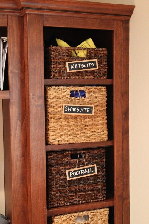 baskets with chalkboard labels