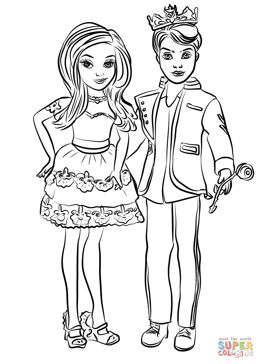 Descendants Ben And Mal Coloring Page Free Printable Coloring Pages In 2020 Descendants Coloring Pages Free Coloring Pages Coloring Pages