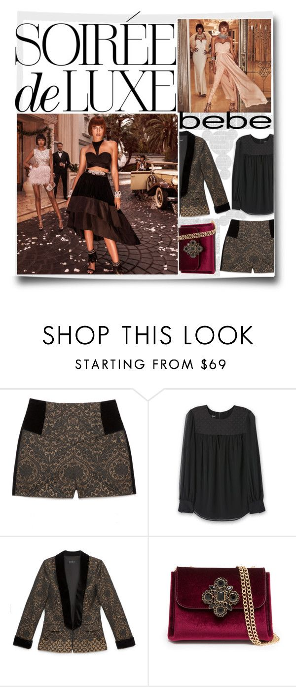 """""""Soirée de Luxe with bebe Holiday: Contest Entry"""" by adrianaotti ❤ liked on Polyvore featuring Bebe"""