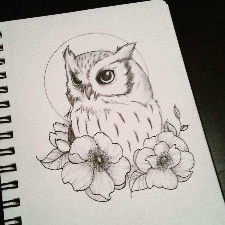 Doodle Dessin Owl Hibou Chouette Bird Flowers Tattoo