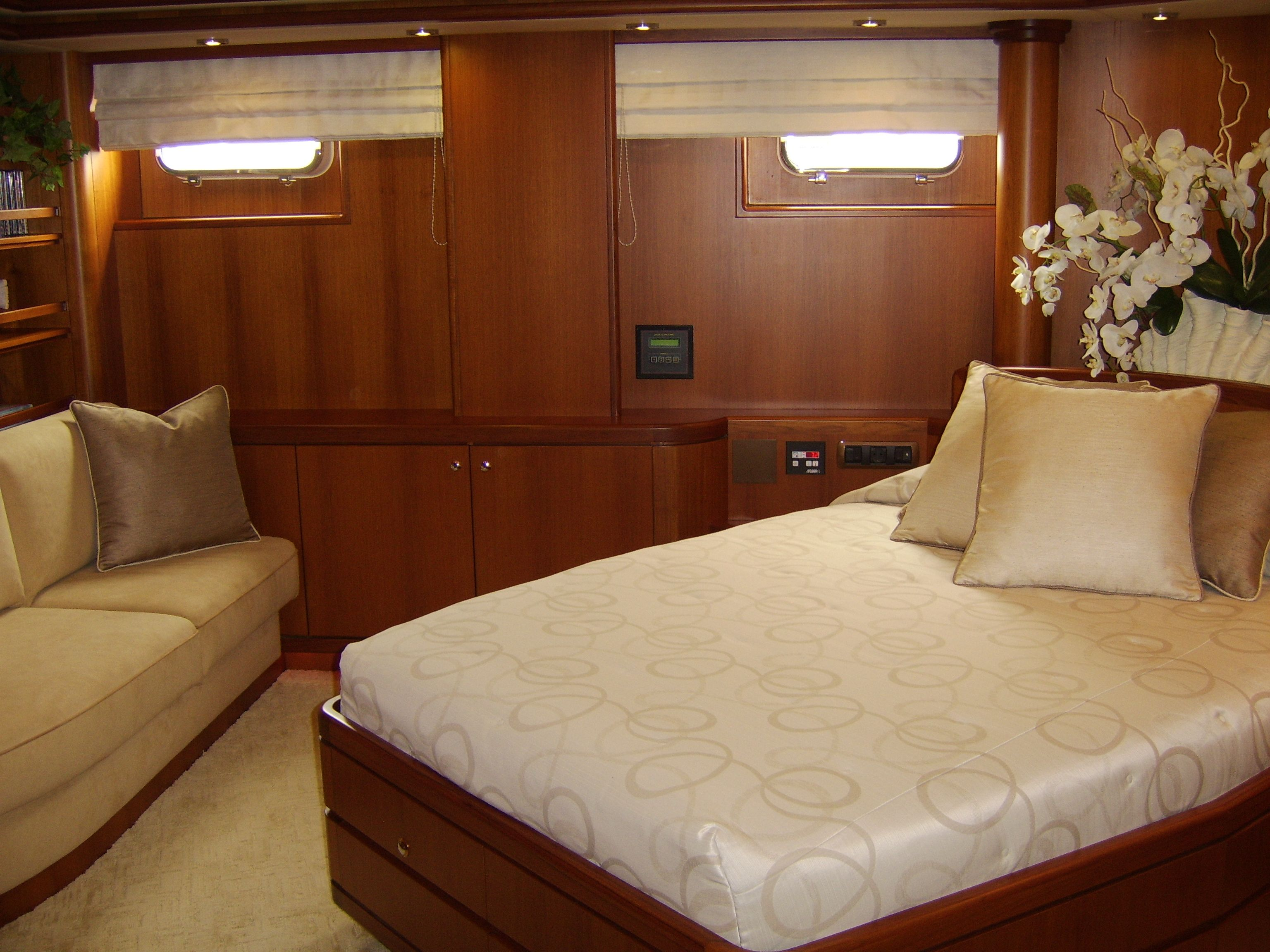 yacht interior master stateroom after designed by clay stephens