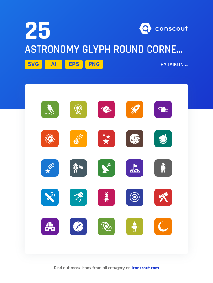 Astronomy Glyph Round Corner Icon Pack - 25 Solid Icons