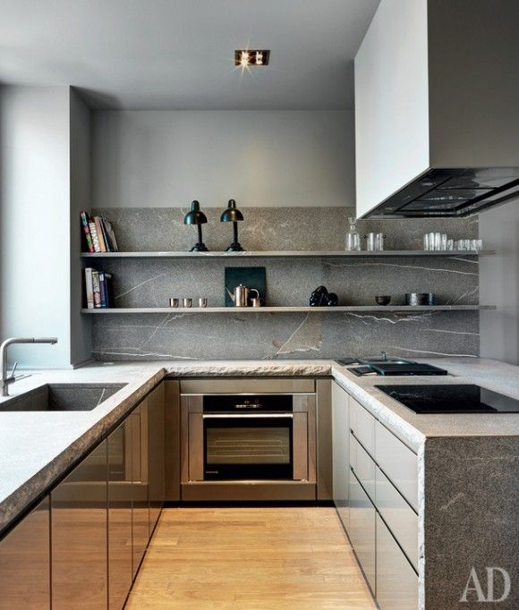 The stone gives visual texture to this neutral kitchen for Kitchen design visualiser