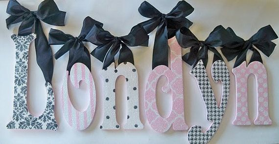 Glitter And Sparkle Custom Boutique Baby Nursery Wall Letters Hanging Handpainted Wood Wooden