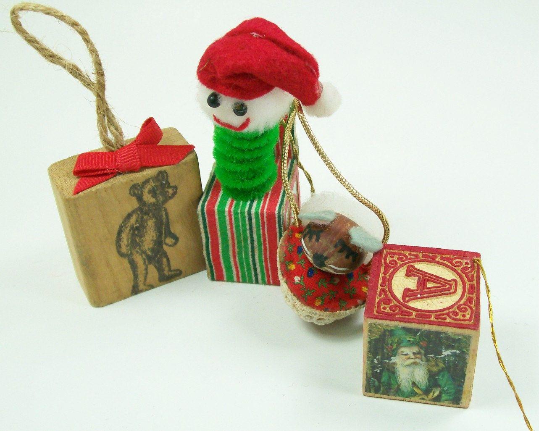 Handmade Christmas Ornaments Bear Stamp Jack Box Mouse Block Vintage ...