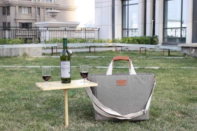 Cooler tote with wine table wine table picnic bag