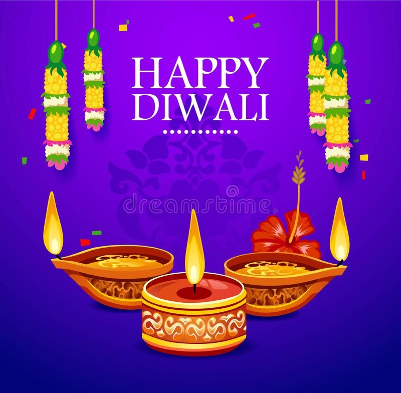 Happy Diwali Greeting Card With Decoration Elements. Vector Illustration. Stock Vector - Illustration of hinduism, happy: 126030319