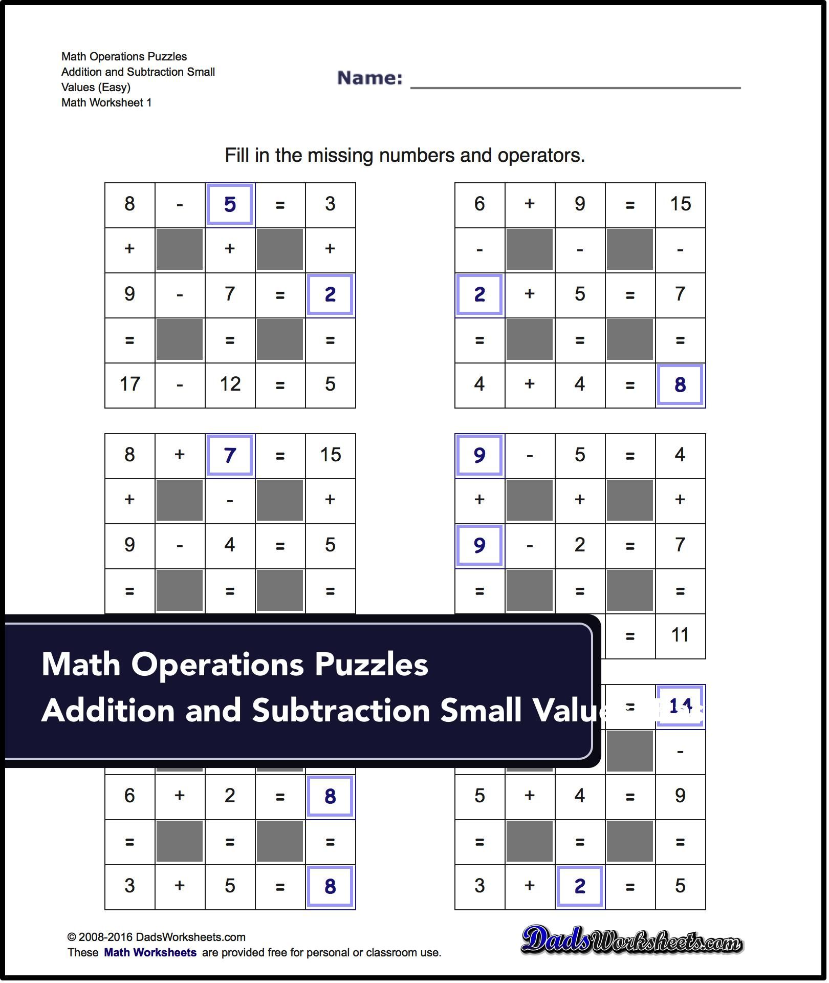 Number Grid Puzzles Addition And Subtraction With Missing Values Small