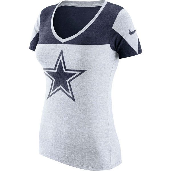 Women's T Nike 2 Cowboys Champ Blend Drive Dallas Shirt Tri White BPBrnqH