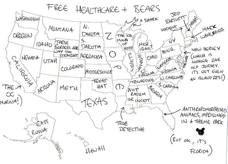 A British map of the U.S. | Just Plain Funny | U.s. states ...