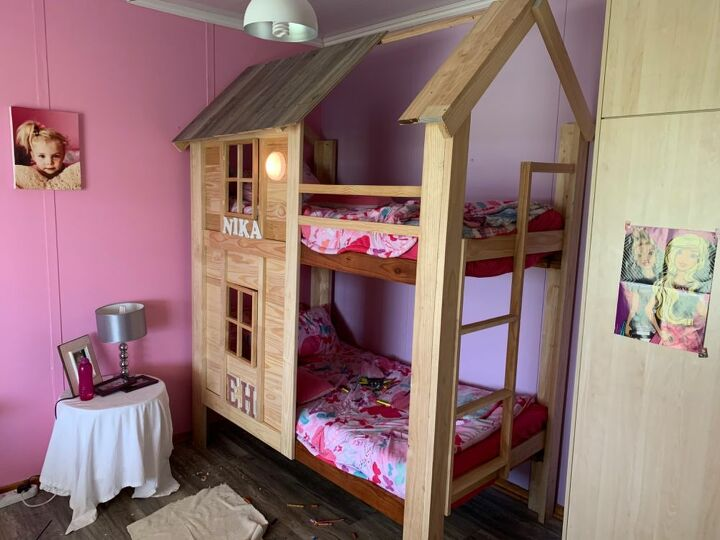 Diy Bunk Bed House In 2020 With Images Diy Bunk Bed Bunk Beds