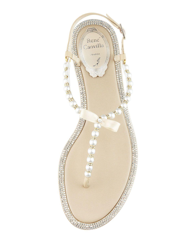 1919b97f53cf Rene Caovilla Pearly   Crystal Flat Thong Sandal