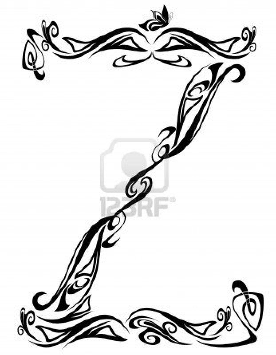 Art Nouveau Floral Style Font  Letter Z  Black And White Fine