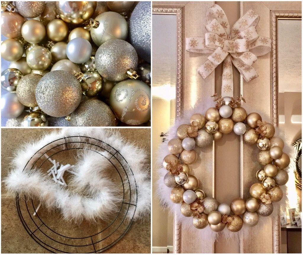Dollar tree DIY ornaments wreath Ornament wreath
