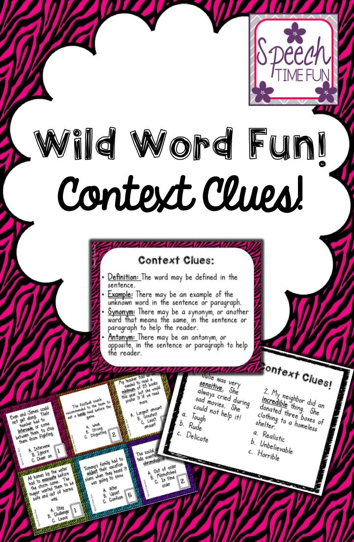 worksheet Context Clues In Paragraphs Worksheets wild word context clues card game worksheets and speech time fun visual aid