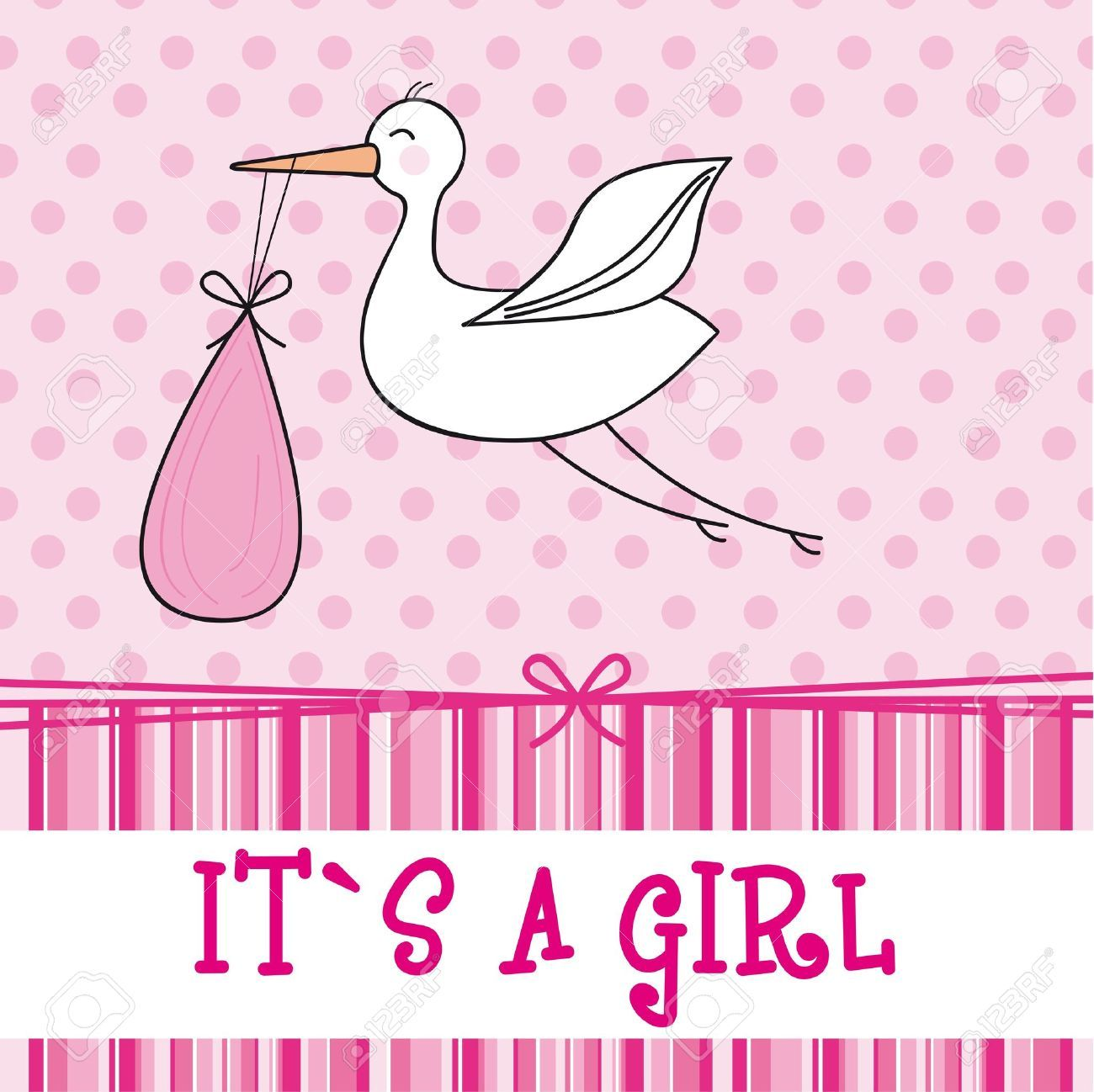 Baby Shower Decorations Vector ~ It s a girl with stork baby shower vector illustration