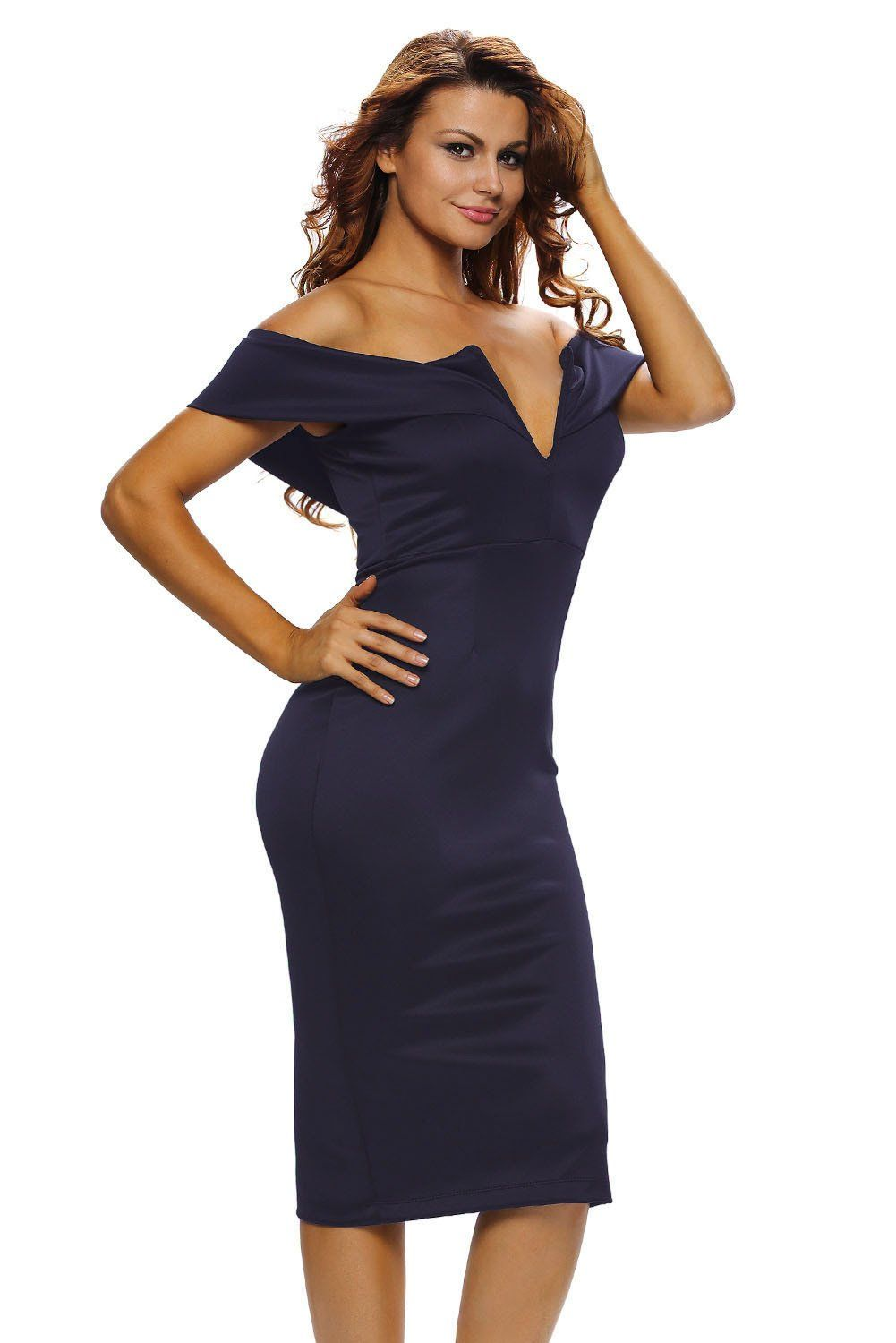 26549a38f5 Chic Navy Blue Sexy V Neck Off-the-shoulder Midi Dress in 2019 ...