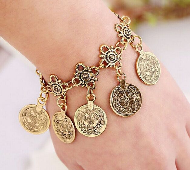 1Pc Antique Gold Coin Charm Anklet Vintage Bohemian Moon Lovers Gypsy Bracelet