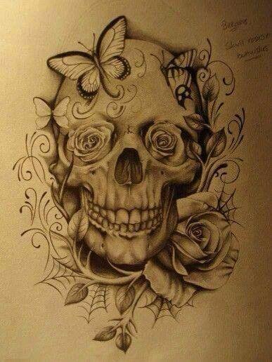 Happy Skull And Roses Sugar Skull Tattoos Skull Tattoo Design Tattoos