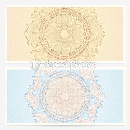 Gift certificate, Voucher template with guilloche pattern - money note template