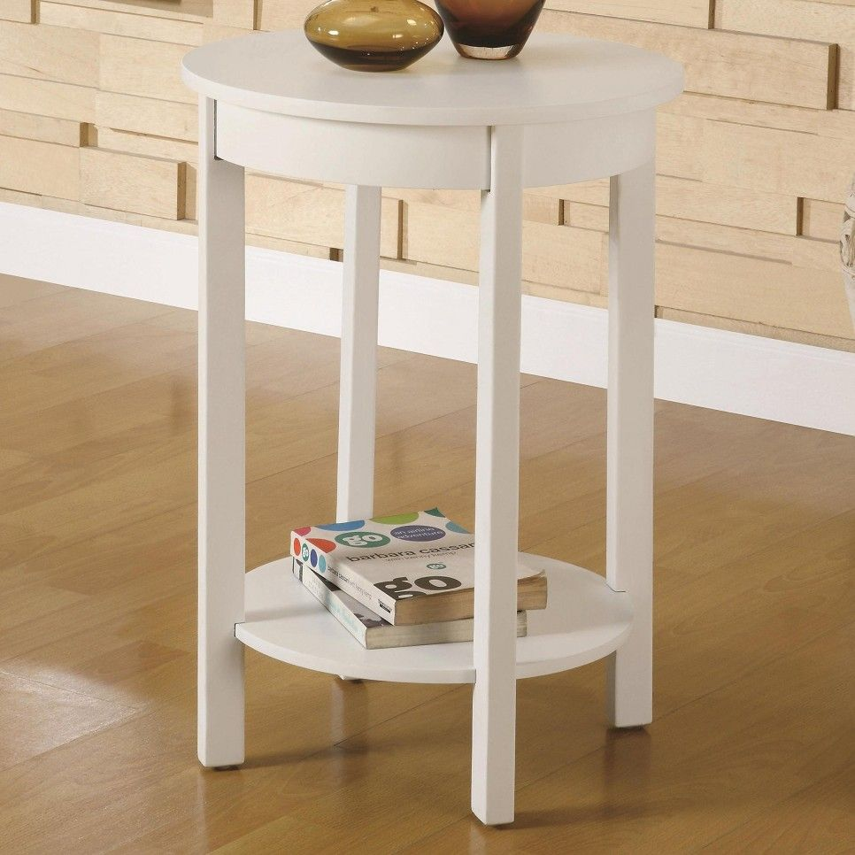 Furniture Diy Simple Round Wood Bedside Table With Bookshelf And