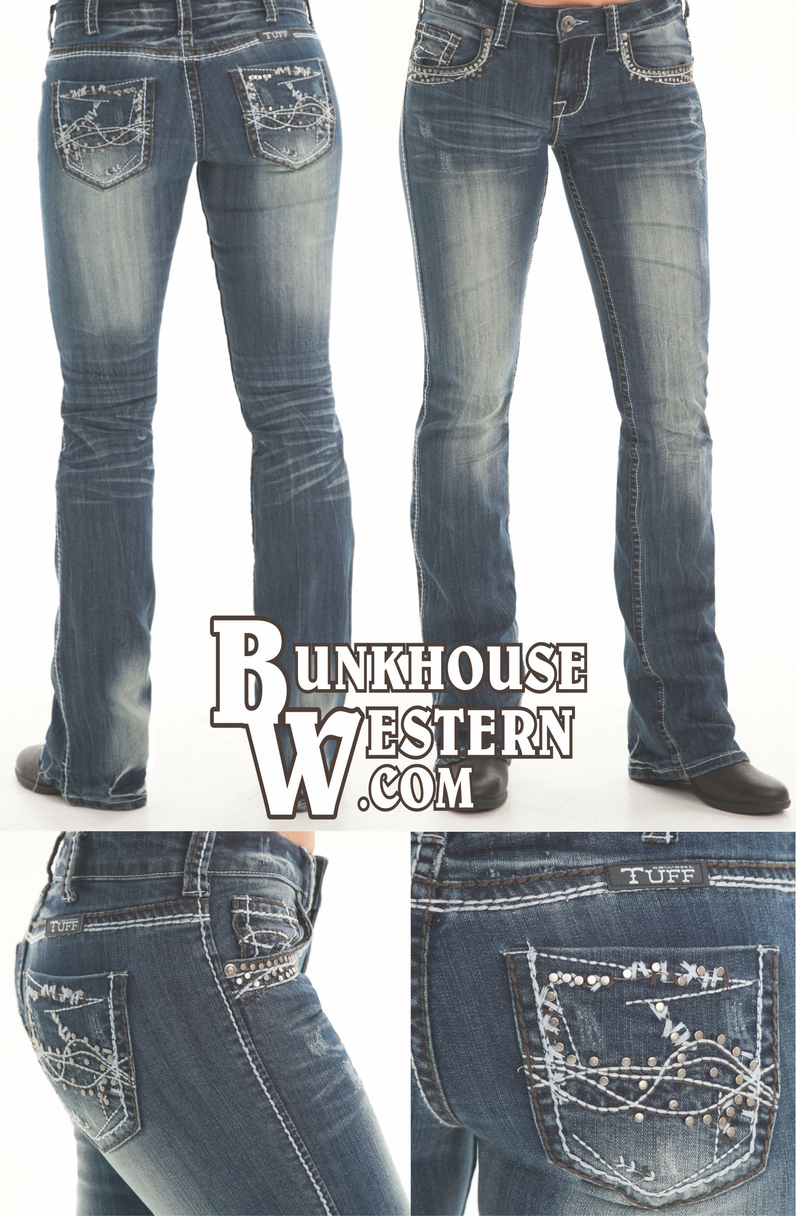 Cowgirl Tuff Company, Studded Barbed Wire Jeans, Gun-Metal Silver ...