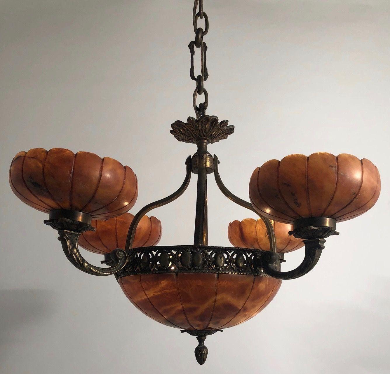 6 Light Bronze And Amber Alabaster Chandelier C 1930 Chandelier Chandelier Decor Glass Light Covers
