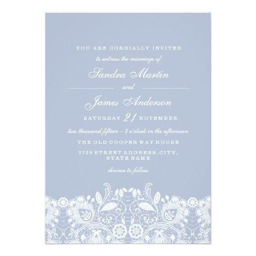 Elegant Dusty Blue White Lace Wedding Invite Zazzle Com With