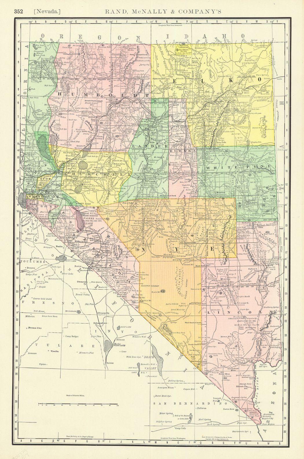 Nevada Rand McNally Co Map With Counties Separately - Rand macnally southwestern us road map