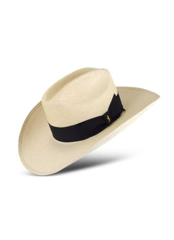 eec39bd1f003f Borsalino Panama Cowboy Hat with Black Band | Men's Beachwear ...