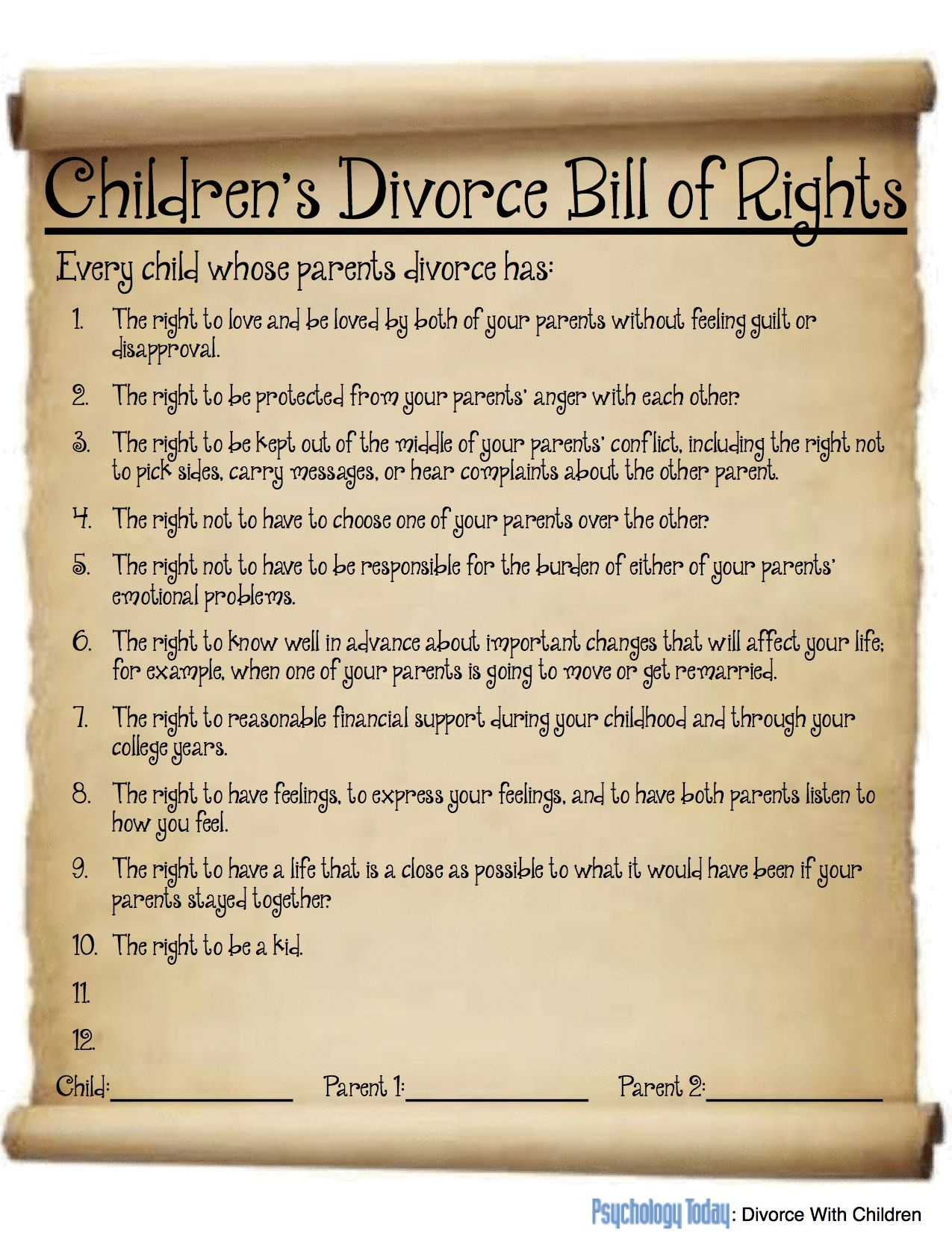 Children S Divorce Bill Of Rights