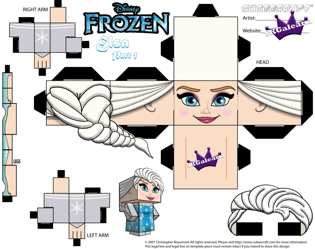 elsa from disney 39 s frozen cubeecraft template p1 by on deviantart