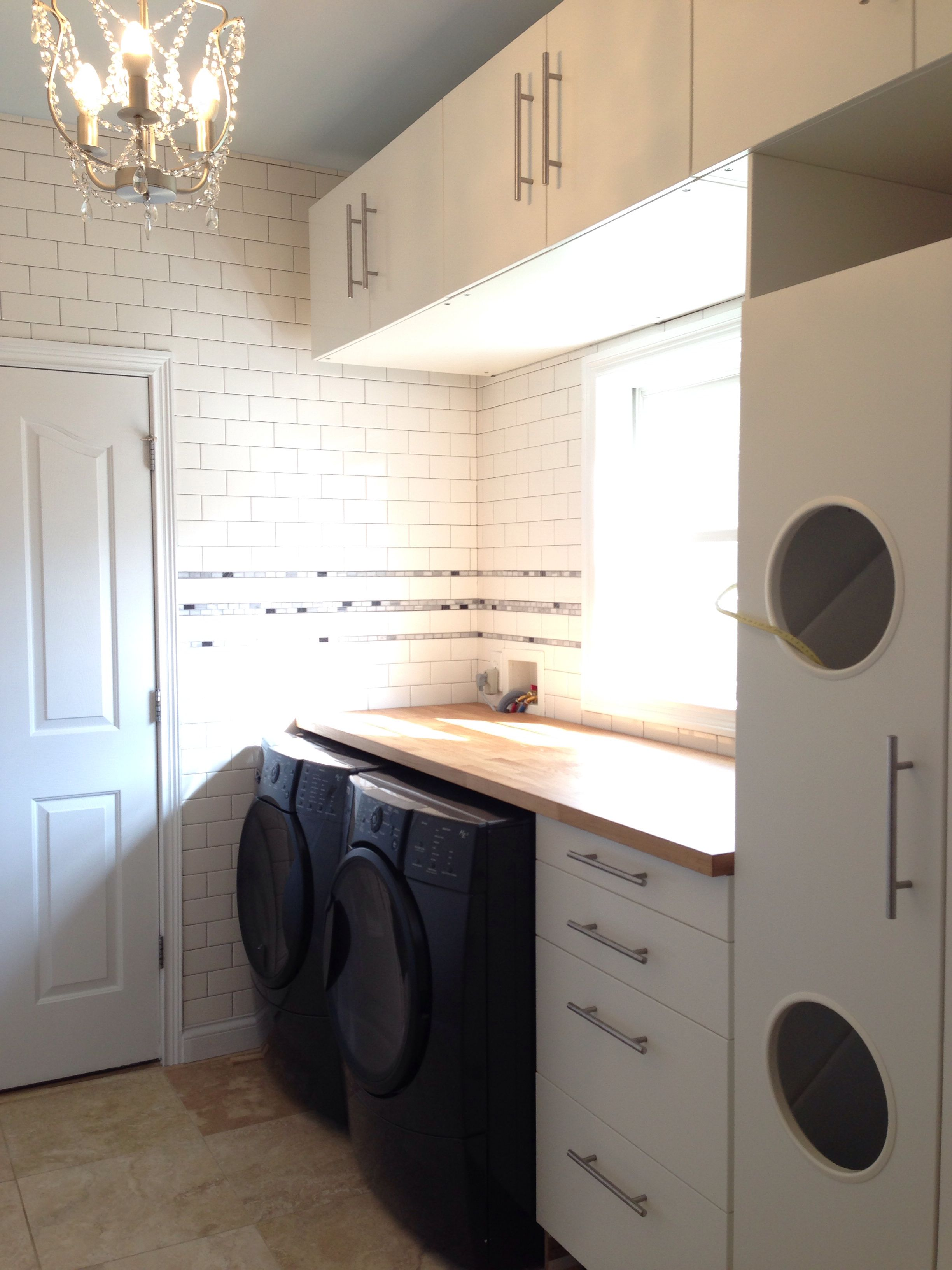Laundry Room With Ikea Akumum Cabinets And Applad Doors The