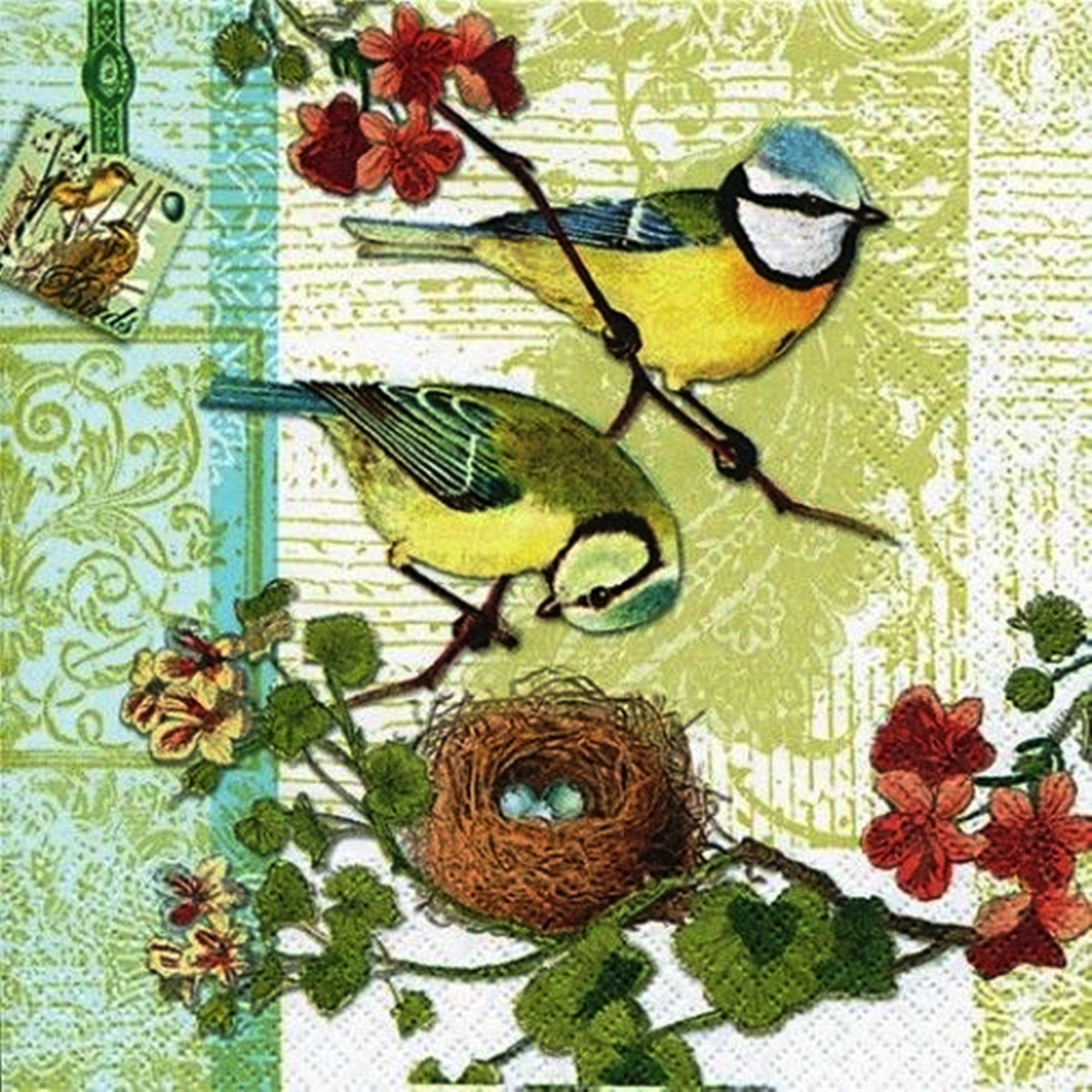 4 Paper Napkins Serviettes - Birds Family, Nest on the tree, Wild Nature Napkins Collection, Decoupage Paper Napkins, Scrap Booking Paper