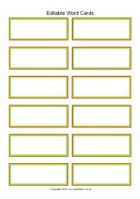Editable Word Cards 12 Per Page Sb11468 Word Wall Template Vocabulary Flash Cards Flash Card Template