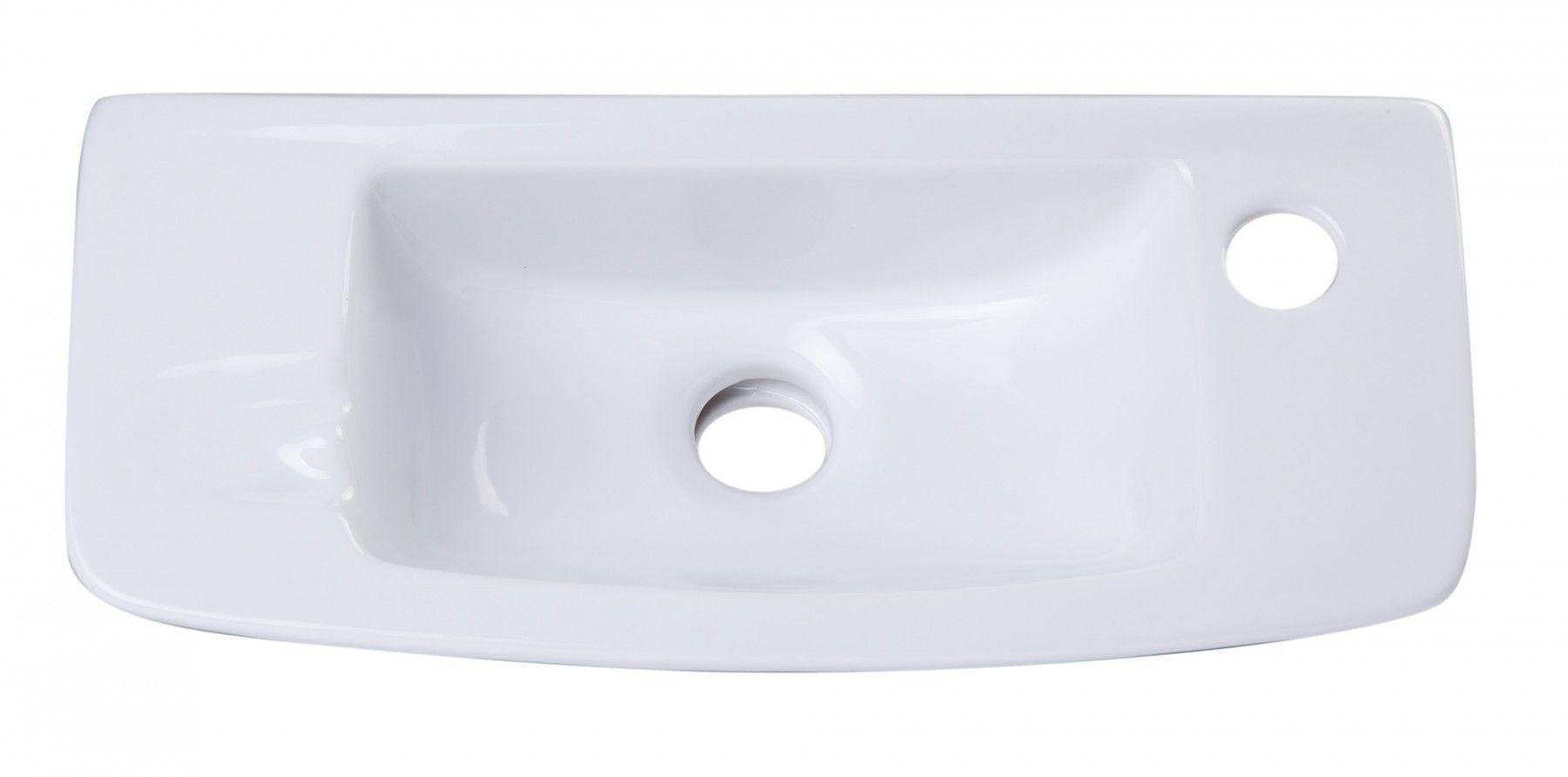 ALFI brand AB103 Small White Porcelain Wall Mount Bathroom Sink Basin