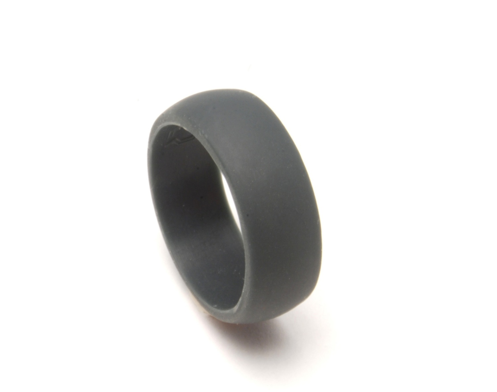 rubber wedding rings QALO Slate grey silicon wedding ring for an active lifestyle QALORing com